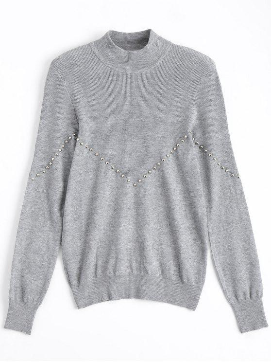 ladies Metallic Button Mock Neck Sweater - GRAY ONE SIZE