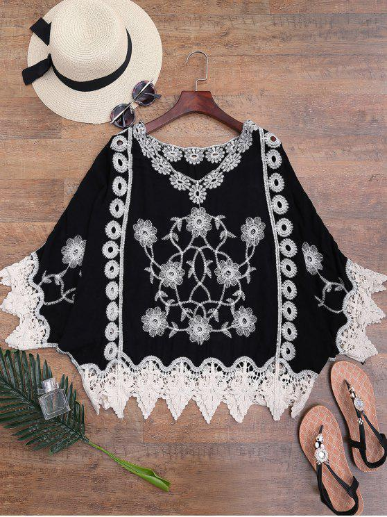 outfits Crochet Trim Flower Embroidered Cover-up - BLACK ONE SIZE