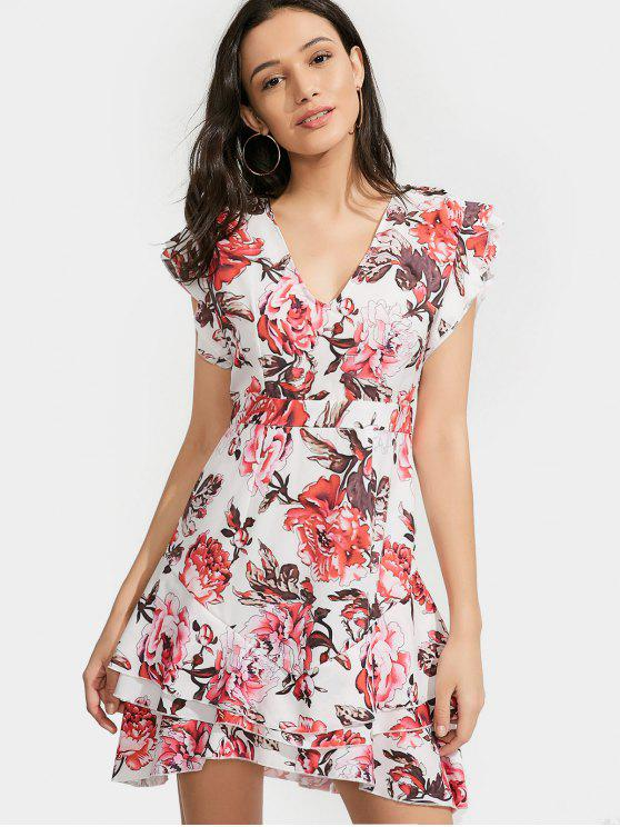 Ruffles Layered Floral A-Line Vestido - Floral S
