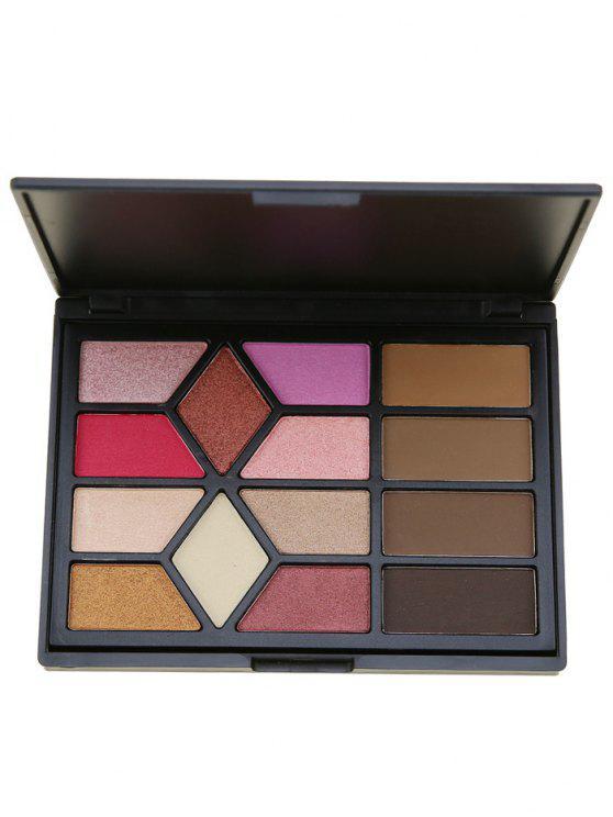 14 Farben Brow Powder Lidschatten Kosmetik Palette - Schwarz