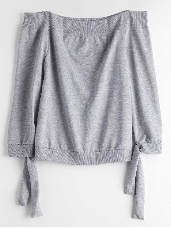 a803895625e Off The Shoulder Self Tie Sweatshirt - Gray Xl.  0.00. ZAFUL guarantees  price ...