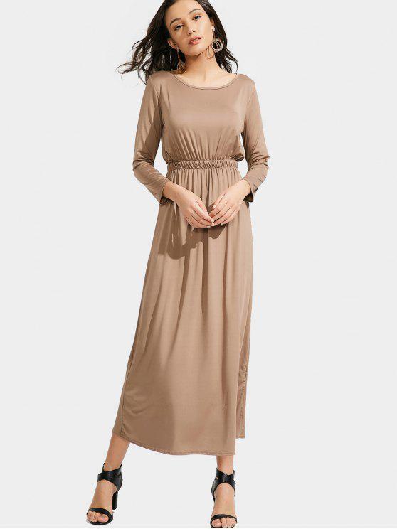 best Long Sleeve Elastic Waist Maxi Dress - KHAKI M