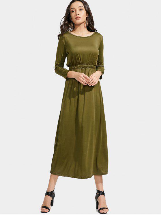 Langes Hülsen-elastisches Taillen-Maxi Kleid - Armeegrün L