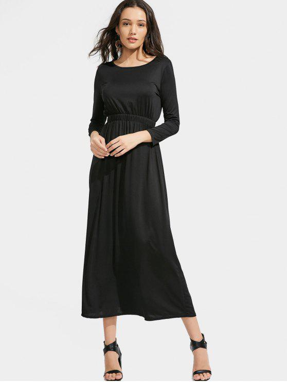 trendy Long Sleeve Elastic Waist Maxi Dress - BLACK S