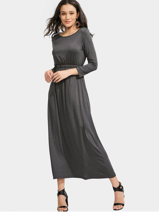 unique Long Sleeve Elastic Waist Maxi Dress - DEEP GRAY S