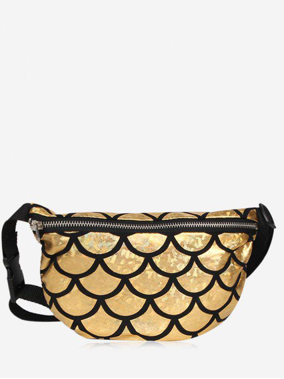 best Zipper Scale Pattern Fanny Pack - GOLDEN