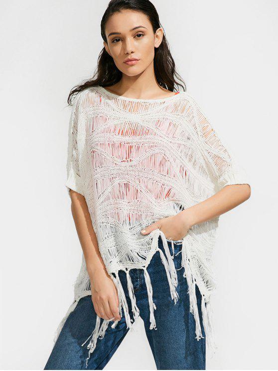 Camisola do tamanho grande da franja e crochê - Branco Tamanho único