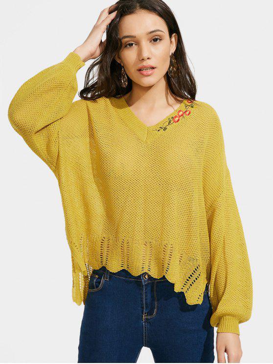 Suéter do decote baixo em V com o bordado - Amarelo Tamanho único