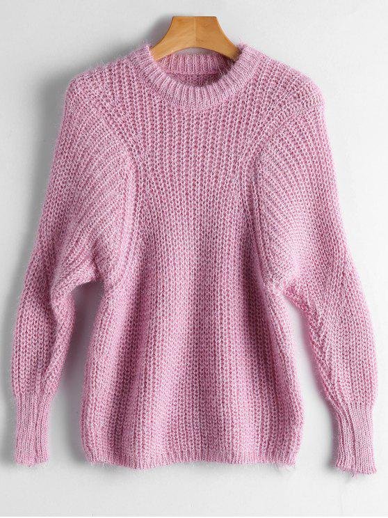 trendy Dolman Sleeve Plain Pullover Sweater - PINK ONE SIZE