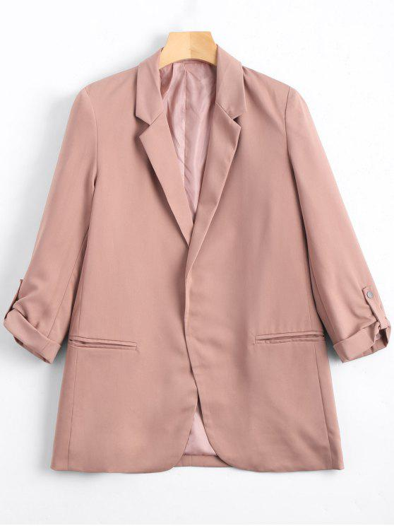 affordable Lapel Buttoned Tabs Sleeve Blazer - PINK M