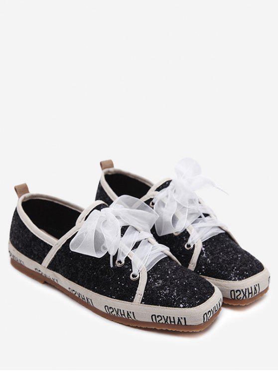 Zapatillas de deporte cuadradas del dedo del pie de Sequined - Negro 38