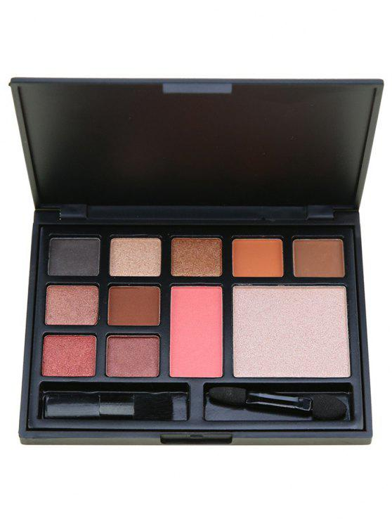 hot 11 Colors Multipurpose Facial Cosmetic Palette with Brushes - PINK