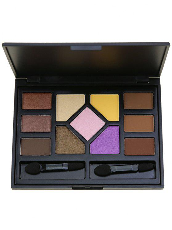 outfit 11 Colors Eyeshadow Brow Powder Palette with Brushes - BLACK