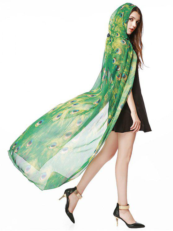 Chapeu com capuz comprido com capim de design de pavão de Chiffon - Verde