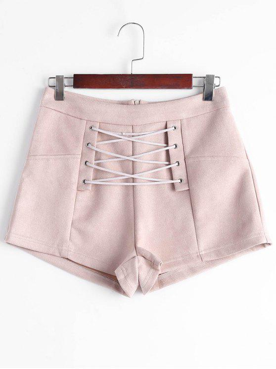 hot High Waisted Lace Up Shorts - NUDE PINK S