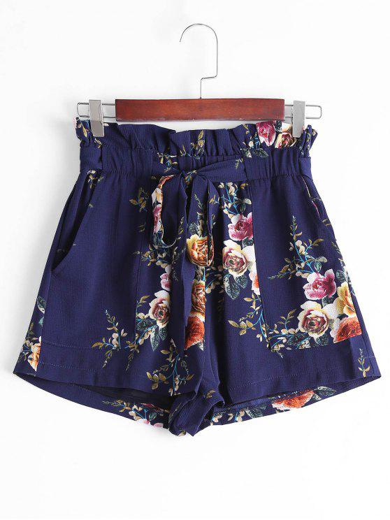 Short Estilo Saia Floral com Cintura Alta de Babado - Azul Arroxeado L