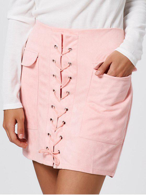 Faux Suede Lace Up Bolsillos Bodycon Falda - Rosa M