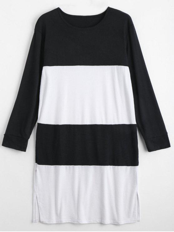 Dos tonos de manga larga más vestido de tamaño - Blanco y Negro 2XL