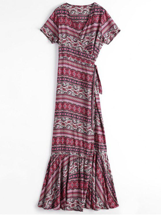 Printed Flounces Wrap Maxi Dress - Rouge TAILLE MOYENNE