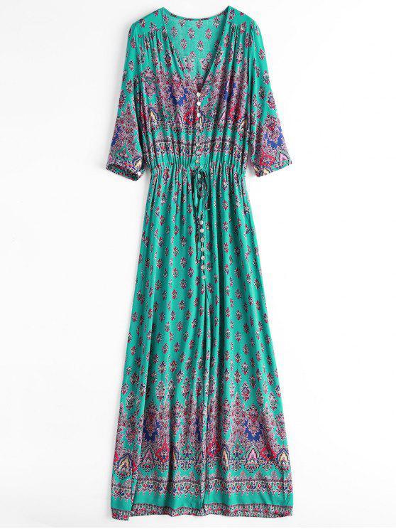 new Printed Slit Button Up Maxi Dress - LIGHT GREEN L