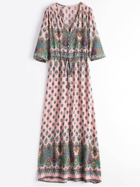 Gedrucktes Maxi Kleid mit Schlitz und Knöpfe - Pink M