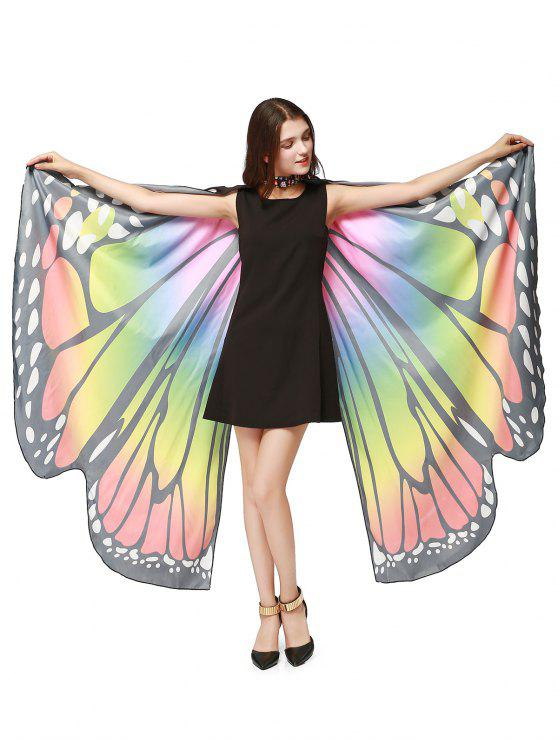 Chiffon Butterfly Strap Shape Wing Cape - Coloré