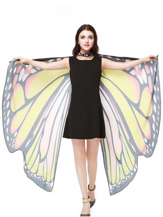 Chiffon Butterfly Strap Shape Wing Cape - Jaune