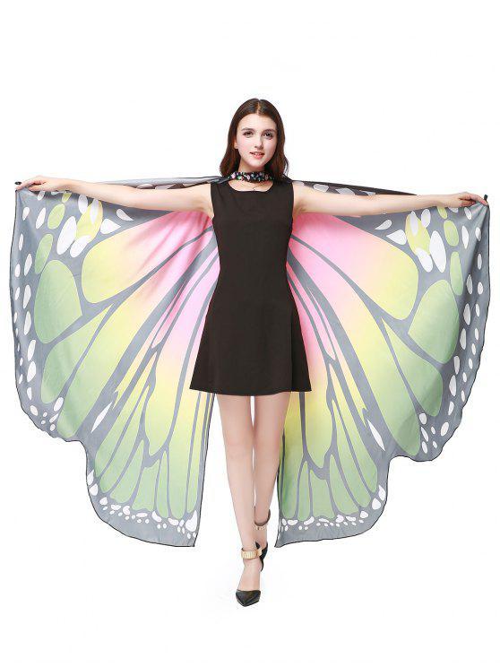 Übergröße Kap aus Chiffon mit Schmetterlings-Flügel - Grün