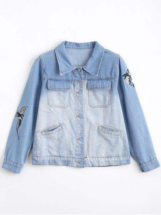 Ombre Bird Denim Jaqueta bordada - Jeans Azul S