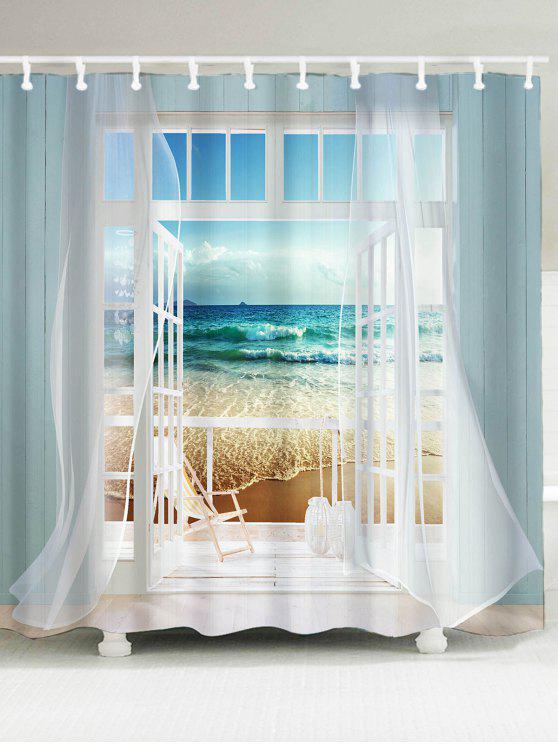نافذة الإطار المحيط المشهد الطباعة ماء دش الستار - مزيج ملون W59 بوصة * L71 بوصة
