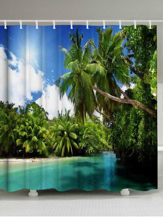 Palmen Fluss Druck Wasserdichter Badezimmer Duschvorhang