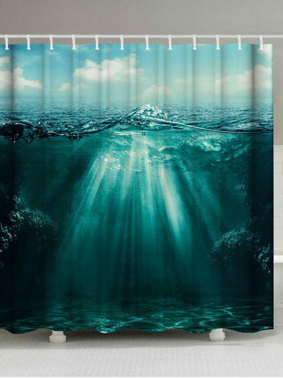 Sunlight Ocean Print Rideau De Douche Pour Salle De Bain étanche   Vert  Foncé Largeur71 Pouces