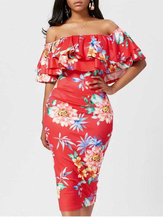 1763b708d855 44% OFF  2019 Floral Ruffle Off The Shoulder Bodycon Dress In RED ...