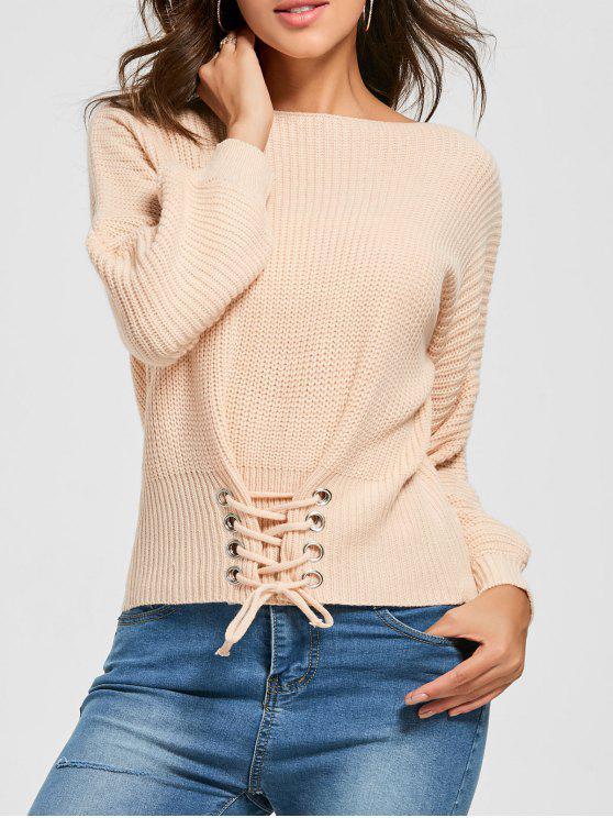 Boat Neck Lace-up Pullover - orange pink  Eine Größe