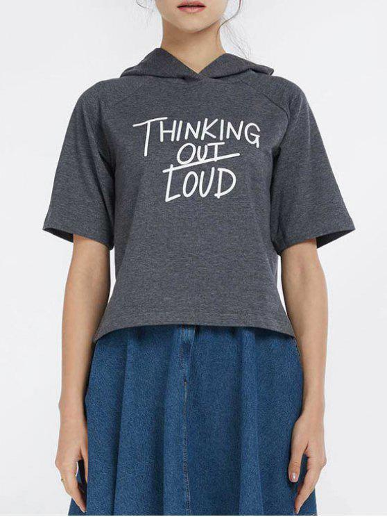 hot Hooded Thingking Out Loud Graphic Top - DEEP GRAY XL