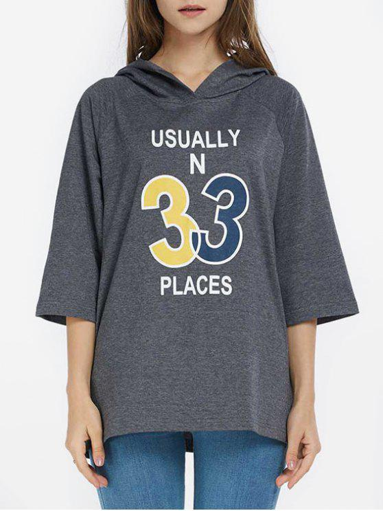 chic Oversized Graphic Hooded Top - DEEP GRAY L