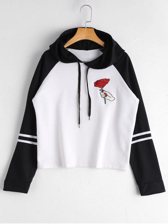 women Floral Patched Raglan Sleeve Hoodie - WHITE AND BLACK M