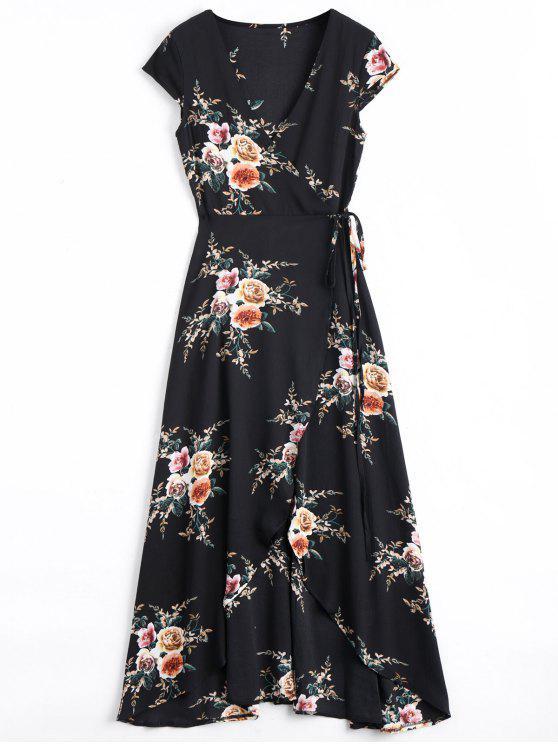 فستان ماكسي لف غير متماثل طباعة الازهار - أسود 2XL