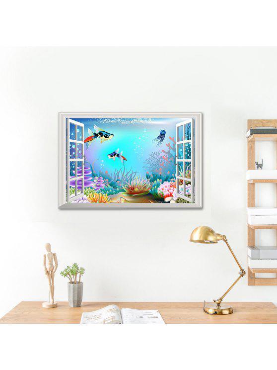 المحيط العالم الكرتون 3d الفينيل الجدار ملصق - مزيج ملون 48.5 * 72CM