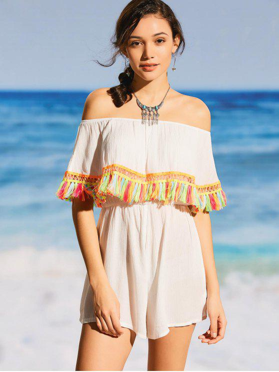 trendy Tassel Off The Shoulder Beach Romper - WHITE S