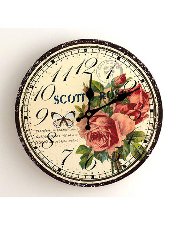 فراشة زهرة الخشب جولة التناظرية ساعة الحائط - الأصفر 30 * 30CM
