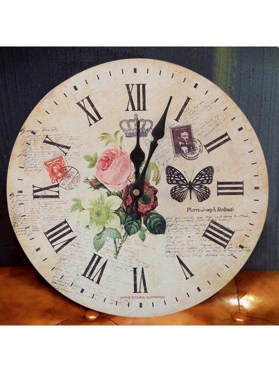 فراشة زهرة الخشب جولة التناظرية ساعة الحائط - الخشب اللون 30 * 30CM