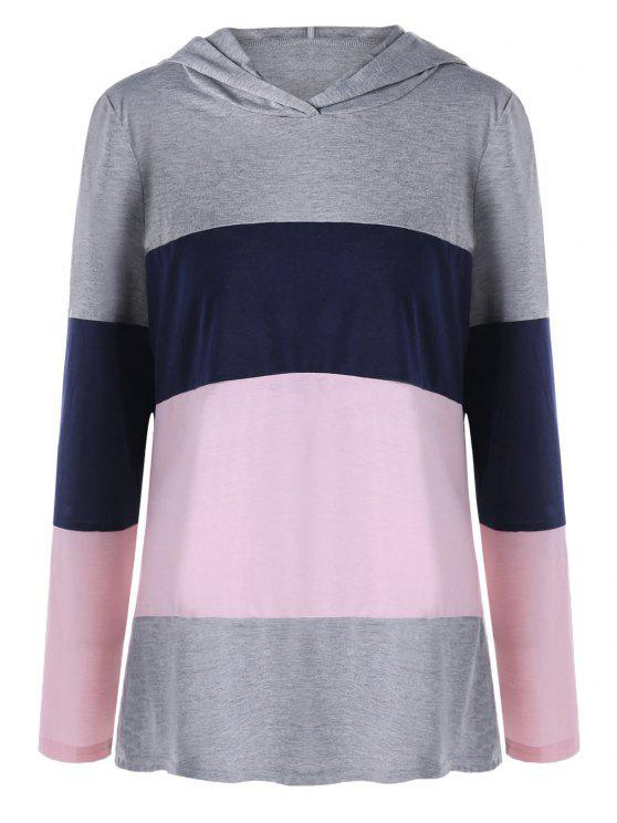 d31f3d03dbdce 2019 Plus Size Color Lump Hooded Long Sleeve T-shirt In COLORMIX XL ...