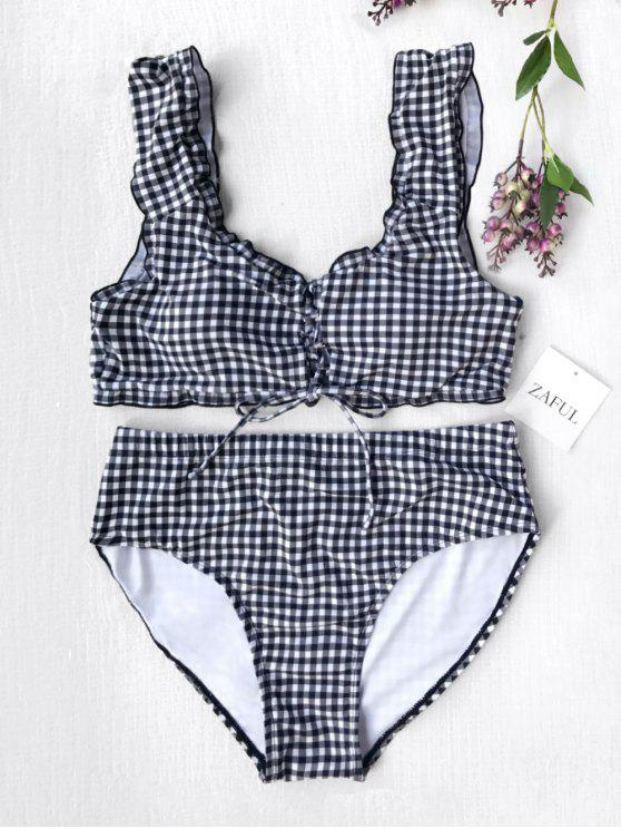 online Strappy Plaid Plus Size High Waisted Bikini - WHITE AND BLACK 4XL