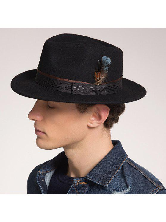 ريشة الشريط بونوت مزين فيدورا قبعة - أسود