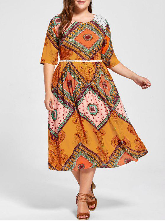 2018 Plus Size Indian Print Flowing Dress In Pearl Kumquat Xl Zaful