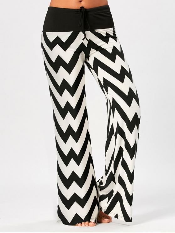 women Zigzag Print Palazzo Pants with Drawstring - WHITE AND BLACK S