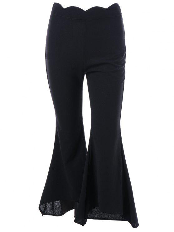 best Scalloped Edge Flare Pants - BLACK L