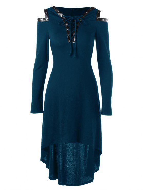 الدانتيل يصل اللباس البوق الكتف مقنعين - الطاووس الأزرق 2XL