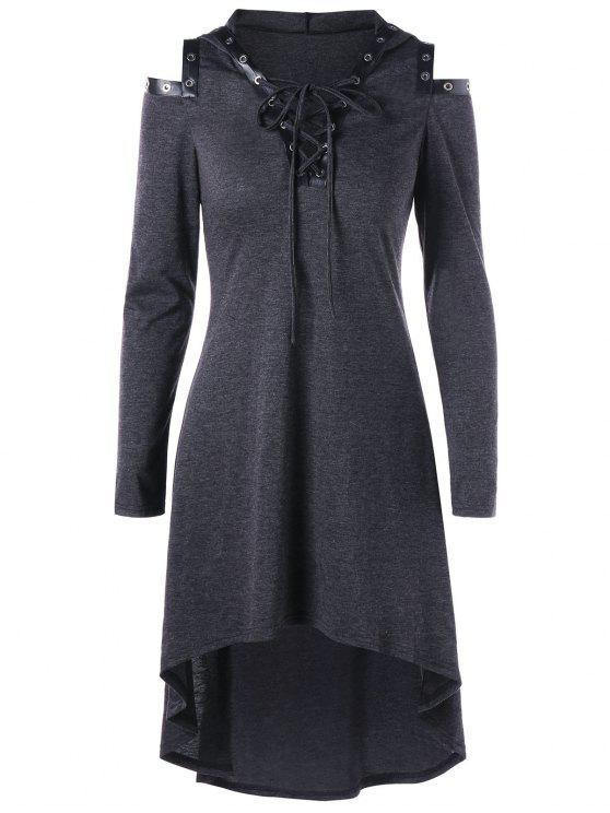 فستان باردة الكتف رباط باردة الكتف - الرمادي العميق M